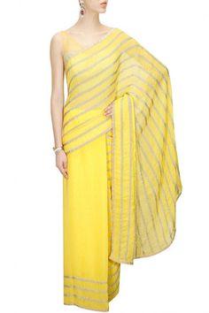 Lemon Colour embellished #yellowsaree – #panachehautecouture