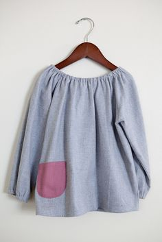 grey flannel peasant tunic