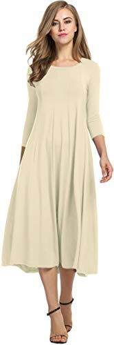 Find Hotouch Women's Spring A-Line Trapeze Midi Dress (Beige XL) online. Shop the latest collection of Hotouch Women's Spring A-Line Trapeze Midi Dress (Beige XL) from the popular stores - all in one Long Midi Dress, Maxi Shirt Dress, Midi Dresses, Long Dresses, Elegant Dresses, Casual Dresses For Women, Dress Casual, Women's Casual, Tea Length Dresses