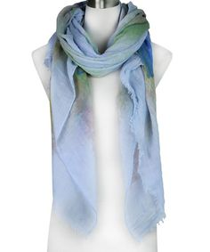 Look what I found on #zulily! Light Blue Watercolor Eyelash-Fringe Scarf #zulilyfinds