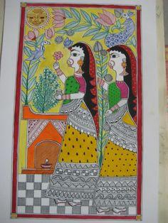 madhubani art - Painting by Suruchi Kumari in My Projects at touchtalent Madhubani Art, Madhubani Painting, Traditional Paintings, Traditional Art, Art Forms Of India, Kalamkari Painting, Indian Art Paintings, Indian Folk Art, Tribal Art