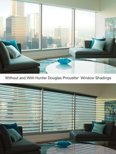 Elevate interiors to a new level of distinctive design by adding window treatments that provide both optimal view and intimate privacy. Pirouette® window shadings ♦ Hunter Douglas window treatments  #loft
