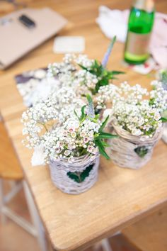 Wax Flower Baskets Decor Rustic Woodland Glade Wedding http://razzleberryphotography.co.uk/