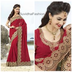 ook impressive and graceful by draping this red coloured georgette wedding wear sari Prettily featuring with throughout scattered stones, decorative butti work, stone, cutdana, resham, stone attractive embroidery worked ravishing look cut-work border is the key feature of this beautiful sari It comes with matching 80cm blouse piece and can be stitched as per your measurement #SuvidhaFashion #Saree