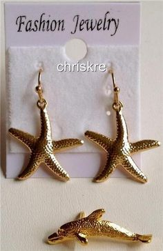 Gold Tone Starfish Earrings & Dolphin Pin  Set of 2 Set Pieces. Nautical Beach Jewelry.