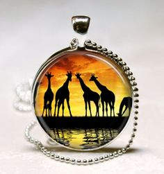 Giraffe Necklace Serengeti Sunset Safari Animal Nature Art Pendant with Ball