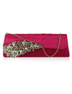 PINK SATIN CRYSTAL EVENING CLUTCH BRIDAL WEDDING BAG - Wedding Bags - Wedding Accessories