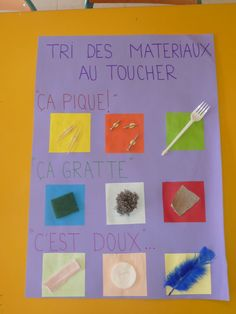 French Five Senses: the five senses. Touch: sorting of materials . Montessori Education, Primary Education, Montessori Activities, Preschool Activities, Maria Montessori, Science Experience, Kids Daycare, French Classroom, French Lessons