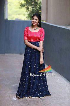 Long Dress Design, Dress Neck Designs, Fancy Blouse Designs, Long Gown Dress, Lehnga Dress, Long Frock, Saree Gown, Saree Blouse, Kalamkari Dresses