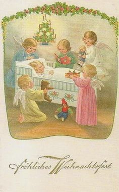 Pauli Ebner — Old Christmas Post Cards Mary Christmas, Vintage Christmas Cards, Christmas Art, Christmas Greetings, Vintage Cards, Vintage Postcards, Weird Vintage, Pretty Images, Christmas Printables