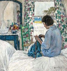 Woman Knitting in a Sunlit Bedroom - Esperanza Gabay