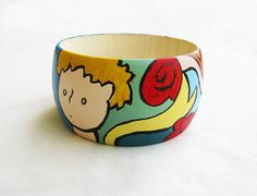 LITTLE PRINCE HANDPAINTED wooden bangle, petit prince bracelet, gift, little prince jewelry