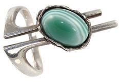 Abstract Green Sardonyx Ring Sterling Silver Vintage – Yourgreatfinds