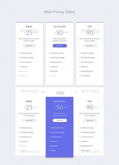 Buy Web Pricing Tables by Doony on GraphicRiver. PSD File is fully layered and can easily be edited Shapes are vectors easy to resize Colors and shapes can be c. Layout Design, Web Design, Graphic Design, Flat Plan, Table Template, Pricing Table, Information Graphics, Presentation Templates, Photoshop