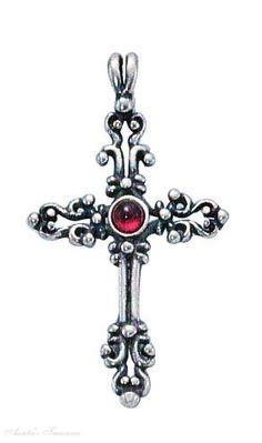 Garnet Scroll Christian Religious Cross Pendant