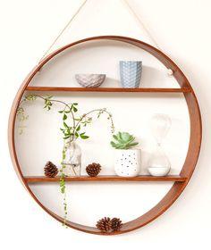 Oak Circle Shelf - Two Tier - Walnut Finish   Bride & Wolfe