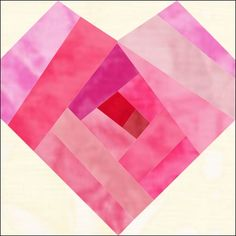 Valentine Heart Quilt Block Pattern + Free Paper Piecing Video Tutorials