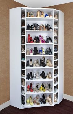 Revolving closet/shelves. Can store up to 256 pairs of shoes. Or become a perfect combination of hanging clothes, shoe display, bag display, shelves and drawers.