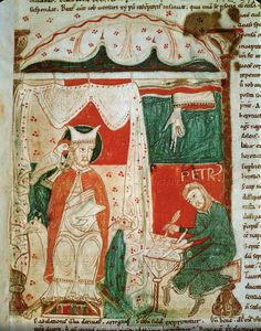 Gregory the Great dictating to his scribe Peter. From the Moralium of Saint Gregory.French,12th