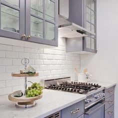 Gray Ikea Kitchen Cabinets with White Beveled Subway Tile Backsplash