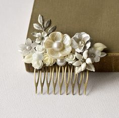 Silver Bridal Hair Comb  White Floral Hair Comb Shabby by lonkoosh, $95.00