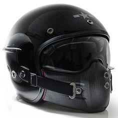 Harisson Corsair helmet - gloss black So. Custom Helmets, Custom Bikes, Custom Motorcycle Helmets, Bike Helmets, Racing Helmets, Motorcycle Style, Motorcycle Gear, Women Motorcycle, Moto Design