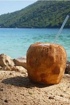 Labadee, Haiti. Sip on fresh coconut water, straight from the tree! Once the top is cut off, you can just stick a straw in it and enjoy.