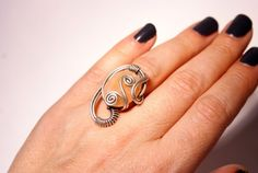 handmade sun stone ring-energy-reiki- birthday gift-for her gift- wire wrapped jewelry handmade-Adjustable ring-silver ring