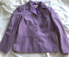Talbots Petites Heathered Purple Lambswool Blazer 4 Made In Italy Career Jacket #Talbots #Blazer