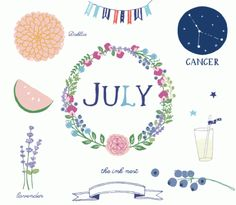 CLIP ART - July - for commercial and personal use
