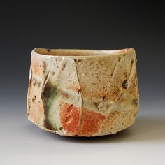 Akira Satake--Chawan (tea ceremony bowl) - oribe glaze, woodfired 4.5 x 4.5 x 3.25 inches  This chawan will come with tomobako.  Shipping and Policy  (ch-8a)