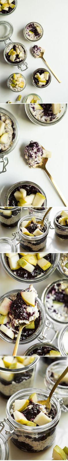 Coconut-Cardamom Vegan Overnight Oat Parfait with Blueberry Chia Seed Jam — Oh She Glows