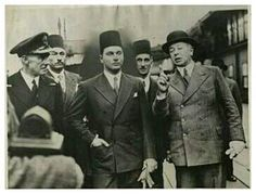 King Farouk while studying in England, and before he sat on the throne of Egypt a few months and Ahmed Hassanein Pasha and Omar Fathi Pasha