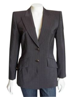 Escada Brown Pinstriped Wool Blazer size 34 | Pre-Owned  This gorgeous vintage Escada blazer is made out of a fine wool  blend material, and comes in a pinstriped dark chocolate brown color. Styling includes a classic collared neckline with wide notched lapels, double button front closure, slim fit...  #Escada #EscadaClothing #EscadaJackets #Brown #Pinstripe #Wool #Authentic #GentlyUsed #PreOwned #Used #designer #Consignment #Resale #ForSale #Sale #OnSale