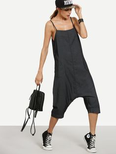 SheIn offers Black Buttoned Drop Crotch Denim Cami Jumpsuit & more to fit your fashionable needs. Denim Jumpsuit, Jumpsuit Dress, Mode Vintage, Mode Outfits, Black Button, Diy Clothes, Fashion News, What To Wear, Street Style