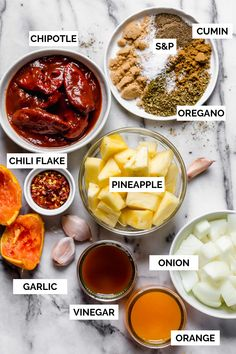 Made with fresh pineapple, orange juice, & chiles, this easy al pastor marinade is perfect for whenever you're craving sweet heat with some Mexican flare! Grilling Recipes, Gourmet Recipes, Mexican Food Recipes, Cooking Recipes, Healthy Recipes, Tacos Al Pastor Recipe, Alpastor Recipe, Tandoori Masala, Sauces