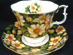Royal Albert Diana   Black Yellow Floral Chintz