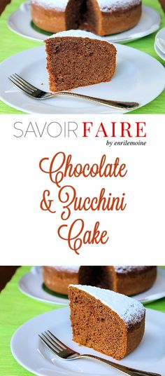 This chocolate and zucchini cake is light in the sense that it's not dense or fudgy. Zucchini is perfectly disguised in the delicate chocolate flavor. Click for this delicious dessert recipe. via @enrilemoine