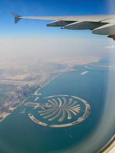 Palm Island in Dubai, as viewed from a plane