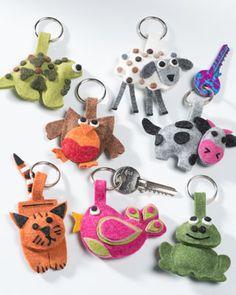 Felt animal keyring, assorted designs