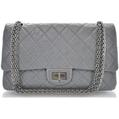 Fashionphile - CHANEL Aged Calfskin 2.55 Reissue 227 Flap Grey ❤ liked on Polyvore