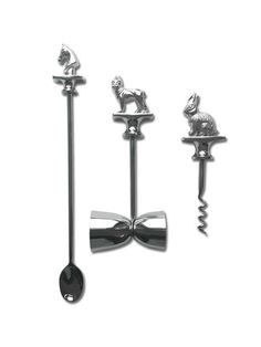 This stainless steel, silver-finish set adds just the right amount of whimsy to adult beverage stations.
