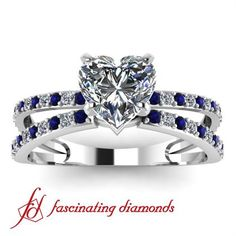 Split Band Diamond Engagement Ring With Blue Sapphire Side Diamonds and Heart Shaped Center Stone