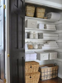 Need help keeping your linen closet neat? First, purge what you don't need; then employ these six simple linen closet organization tricks — from where to store bulky blankets to how to keep sheet sets together — to keep it tidy and beautiful. Linen Closet Organization, Closet Storage, Bathroom Storage, Bathroom Organization, Organization Ideas, Storage Ideas, Attic Storage, Paper Storage, Storage Design