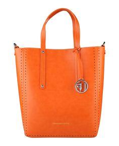 Trussardi jeans - collezione pe 16 - shopping bag realizzata in eco-pelle  - tracolla amovibile e logo applicato. - due  - Shopping bag donna Arancione