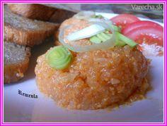 Tvarůžkový tataráčik Baked Potato, Hamburger, French Toast, Food And Drink, Vegetarian, Homemade, Cooking, Breakfast, Ethnic Recipes