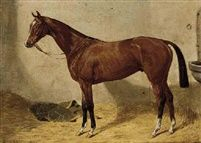 Missal a chestnut hunter in a stable by Emil Adam