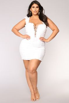 Plus Size Ruff Around The Edges Ruched Dress - White $54.99 #ootd #style #fashion #chic #elegant #streetstyle #fashionable #fashionblogger #stylish #stylist #outfit #fashionblog #designer #hautecouture #fashionista #sexy #trendy #trend #beauty #dresses #outfits #moda #outfitswomen #vogue #curve #outfit #plussize #dress #fashionblogg #fashions