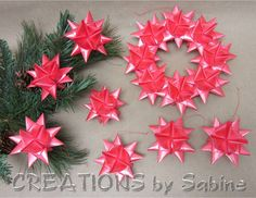 German Ribbon Star Wreath & Ornament Set / Red Satin Hanging Froebel Moravian Advent Crhistmas Danish Swedish Gift Idea / READY TO SHIP  / by CREATIONSbySabine, $32.00