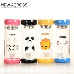 Gohide 1pcs 300ml Animal Gl Water Bottle Double Layer Transpa Juice Teacup With Tea